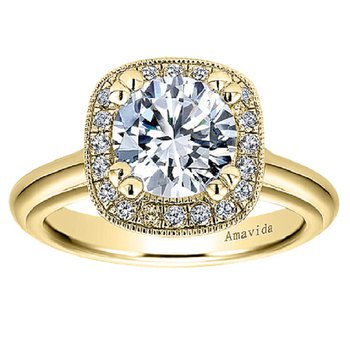 1/5ct tw Diamond Halo Engagement Ring Setting in 18K Yellow Gold