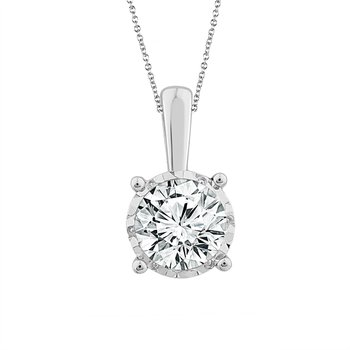 3/4ct tw NewBorn Lab Created Diamond Solitaire Necklace in 14K White Gold