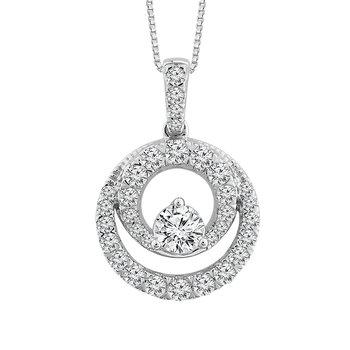 1/2ct tw Diamond Doube Cirlce Necklace in 10K White Gold