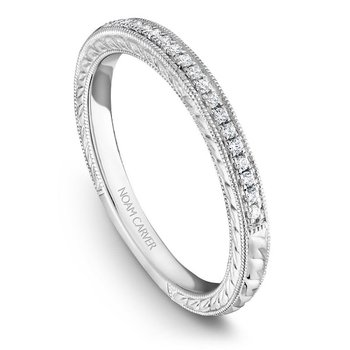 1/10ct tw Engraved Wedding Ring in 14K White Gold