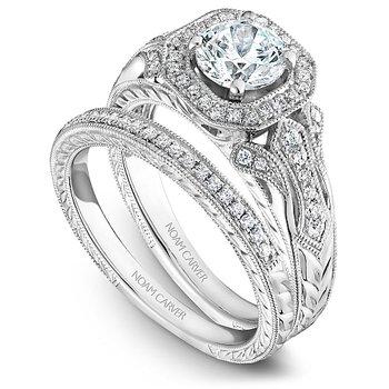 1/10ct tw Engraved Wedding Ring in 14K White Gold
