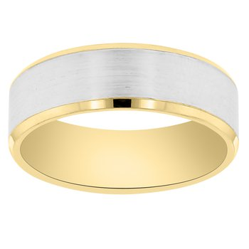7mm Wedding Ring in 14K White & Yellow Gold