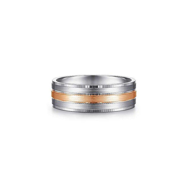 7mm Wedding Ring in 14K Rose Gold & White Gold