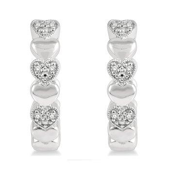 .05ct tw Diamond Heart Hoop Earrings in Sterling Silver