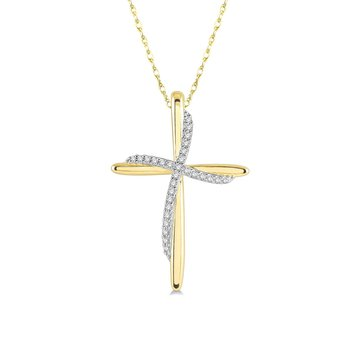 1/10ct tw Diamond Cross Necklace in 10K White & Yellow Gold
