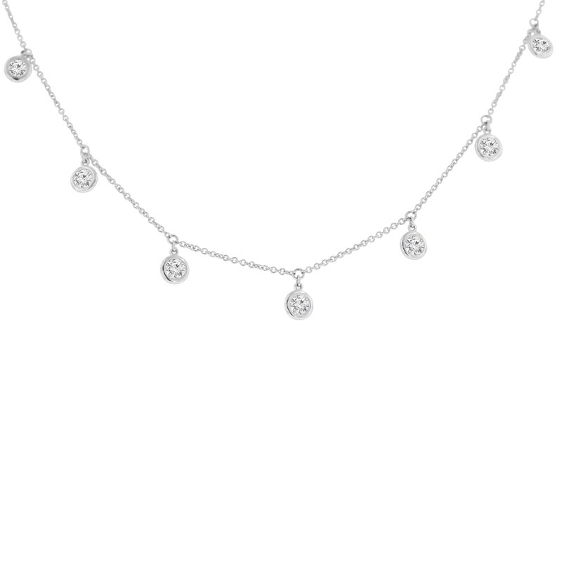 1ct tw NewBorn Lab Created Diamond by the Yard Necklace in 14K White Gold