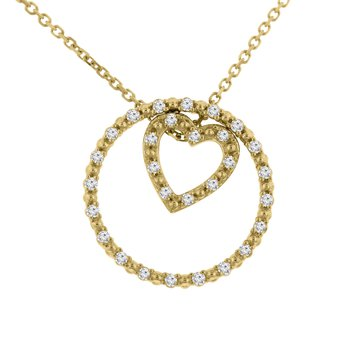 1/8ct tw NewBorn Lab Created Diamond Circle of Love Necklace in 10K Yellow Gold