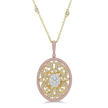 2 1/3ct tw Diamond Thousand Points of Light Necklace in 14K White, Yellow, & Rose Gold