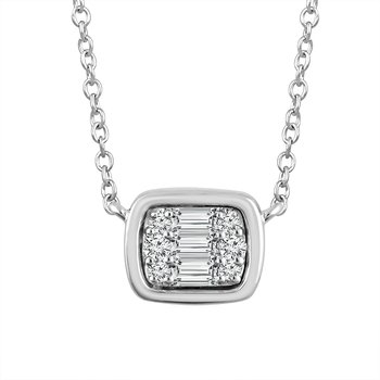 1/10ct tw Diamond East-West Necklace in 14K White Gold