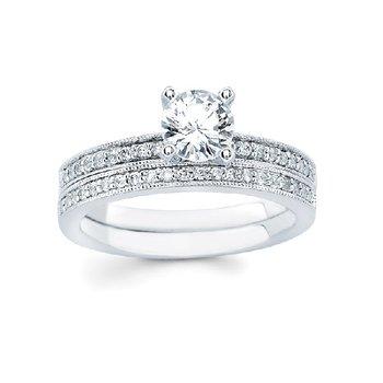 1/10ct tw Diamond Engagement Ring Setting in 14K White Gold