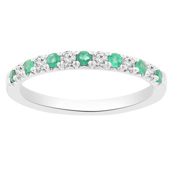 3/8ct tw Diamond & Emerald Stackable Ring in 18K White Gold