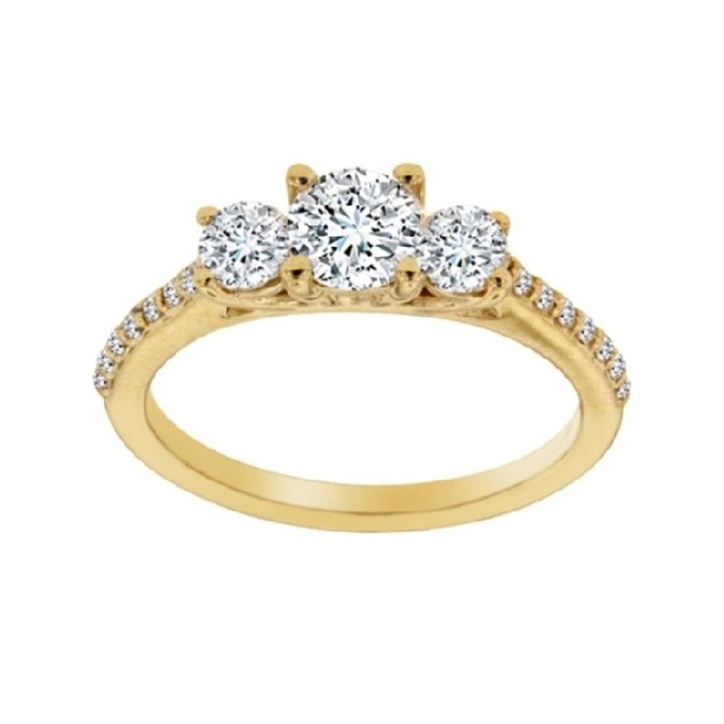 1ct tw NewBorn Lab Created Diamond Three Stone Engagement Ring in 14K Yellow Gold