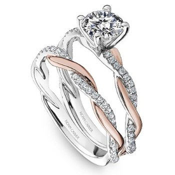 1/5ct tw Diamond Engagement Ring Setting in 14K White & Rose Gold