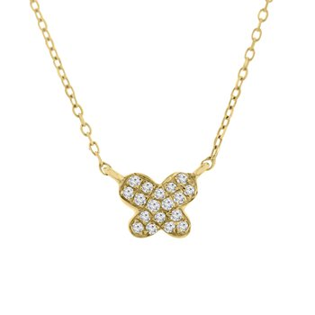 .05ct tw Diamond Butterfly Necklace in 14K Yellow Gold