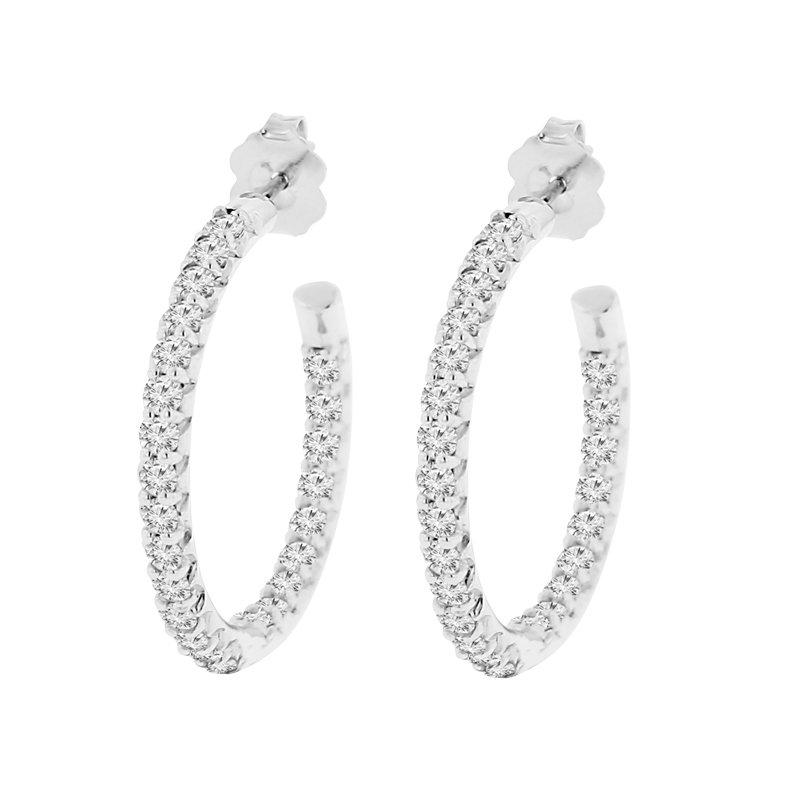 2ct tw Diamond  Hoop Earrings in Sterling Silver & Platinum