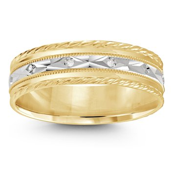 6mm Wedding Ring in 10K White & Yellow Gold
