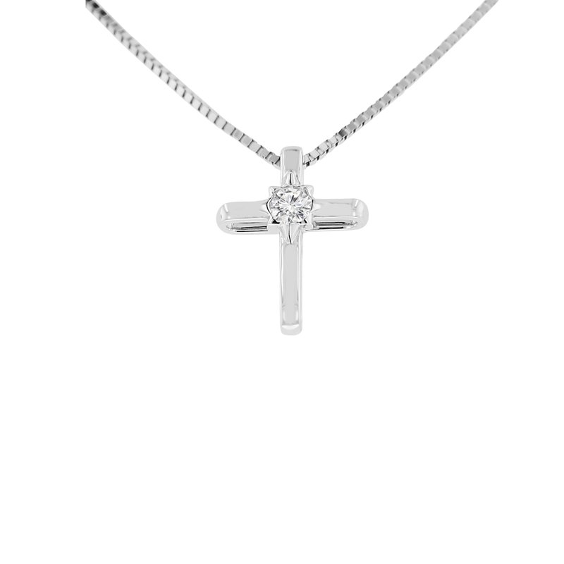 .06ct tw Diamond Cross Necklace in 14K White Gold