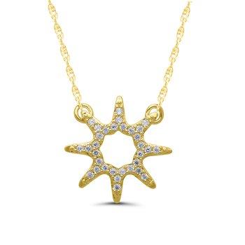 1/10ct tw Diamond Sunburst Necklace in 10K Yellow Gold