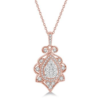 3/4ct tw Diamond Thousand Points of Light Pendant in 14K White & Rose Gold