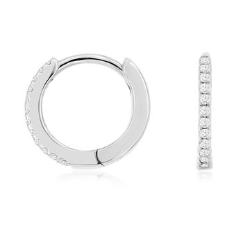1/14ct tw Diamond Hoop Earrings in 14K White Gold