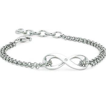 .01ct tw Diamond Infinity Bracelet in Sterling Silver