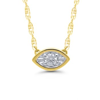 1/10ct tw Diamond Solitaire Necklace in 10K White & Yellow Gold