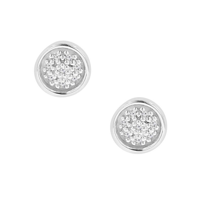 .05ct tw Diamond Circle Stud Earrings in 10K White Gold