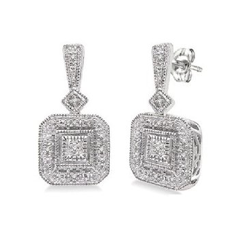 .06ct tw Diamond Halo Earrings in Sterling Silver