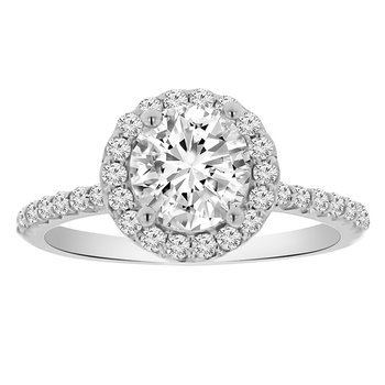 1 3/4ct tw NewBorn Lab Created Diamond Halo Engagement Ring in 14K White Gold