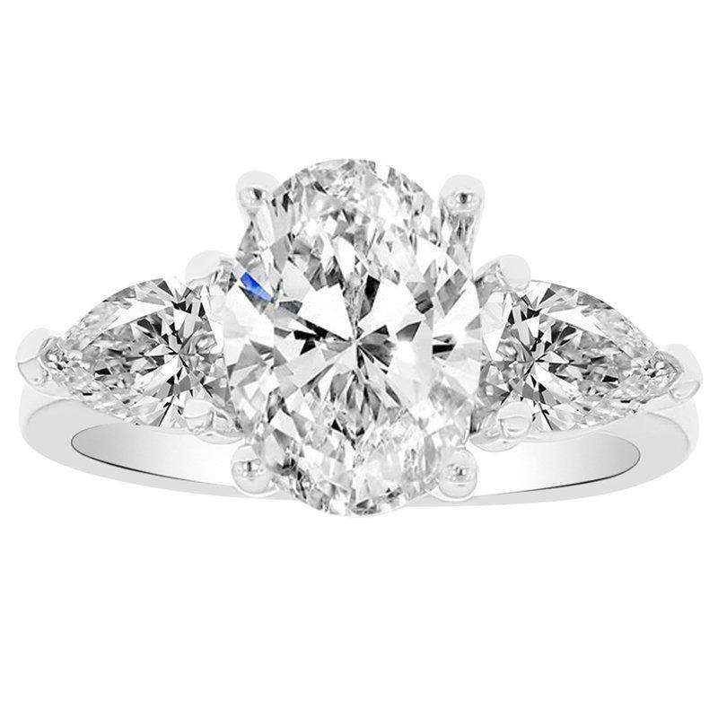3 1/8ct tw NewBorn Lab Created Diamond Three Stone Engagement Ring in 14K White Gold