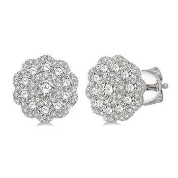 1ct tw Diamond Floral Earrings in 14K White Gold