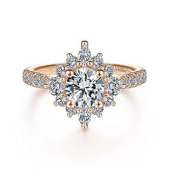 9/10ct tw Diamond Halo Engagement Ring Setting in 14K Rose Gold