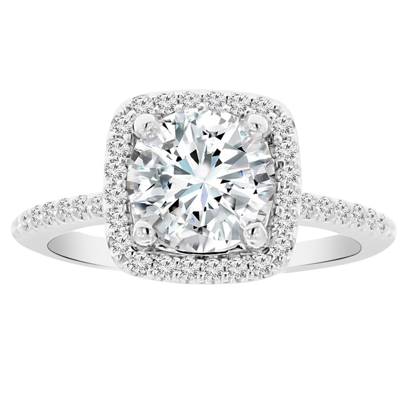 2ct tw NewBorn Lab Grgown Diamond Halo Engagement Ring in 14K White Gold