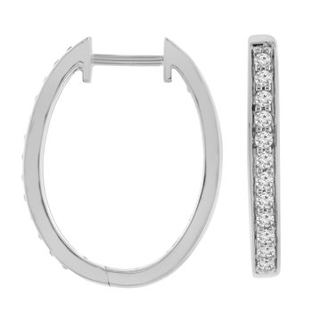 1/2ct tw Diamond Hoop Earrings in 10K White Gold