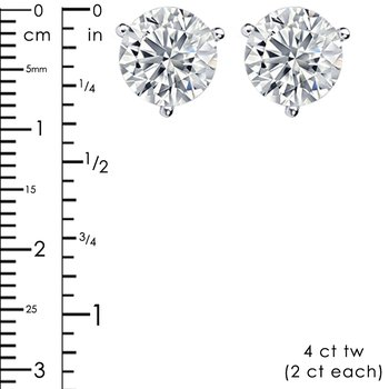 Treasure Hunt Value 4ct tw NewBorn Lab Created Diamond Solitaire Stud Earrings in 14K White Gold