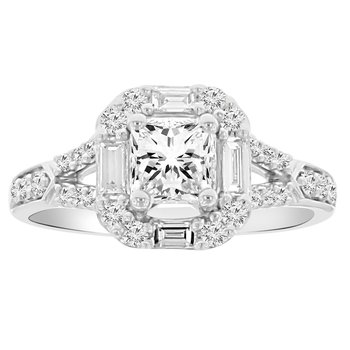 1 1/4ct tw Diamond Halo Engagement Ring in 18K White Gold