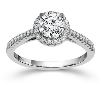 2 1/2ct tw NewBron Lab Created Diamond Halo Engagement Ring in 14K White Gold