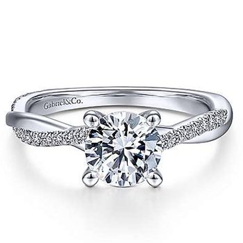 1/8ct tw Diamomd Engagement Ring Setting in 14K White Gold