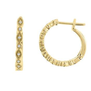 1/14ct tw Diamond Hoop Earrings in 14K Yellow Gold