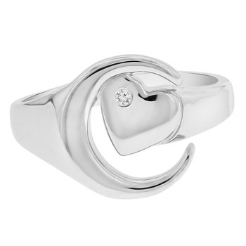 .01ct tw Diamond Moon & Back Ring in Sterling Silver