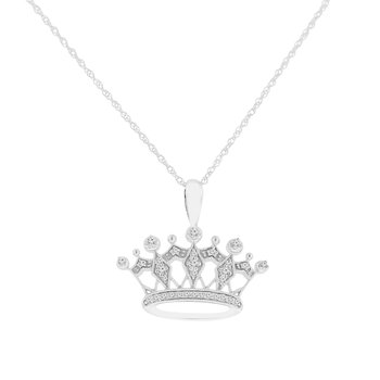 1/8ct tw Diamond Crown Necklace in 14K White Gold