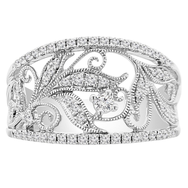 3/8ct tw Diamond Floral Fashion Ring in 18K White Gold