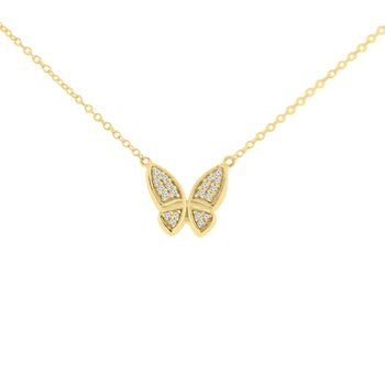 1/14ct tw Diamond Garden District Collection Butterfly Necklace in 10K Yellow Gold