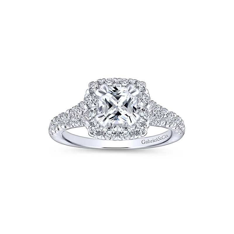1 7/8ct tw Diamond Halo Engagement Ring in 14K White & Rose Gold