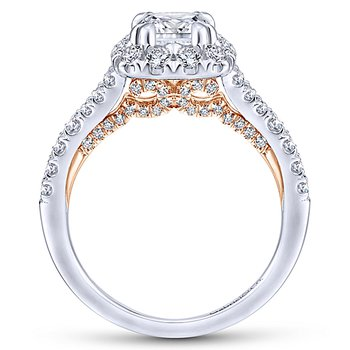 9/10ct tw Diamond Halo Engagement Ring Setting in 14K White & Rose Gold