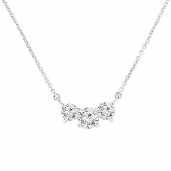 1ct tw NewBorn Lab Created Diamond Three Stone Necklace in 14K White Gold