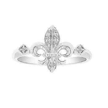 1/14ct tw Diamond Fleur De Lis Fashion Ring in 18K White Gold