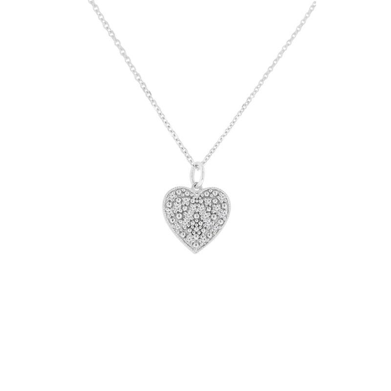 1/8ct tw NewBorn Lab Created Diamond Heart Necklace in 14K White Gold