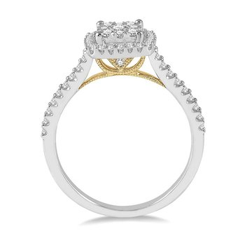 1/3ct tw Diamond Thousand Points of Light Engagement Ring in 14K White & Yellow Gold