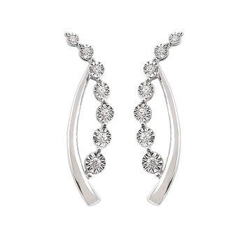 1/10ct tw Diamond Journey Earrings in 14K White Gold